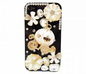 iPhone 4 case,Pumpkin iPhone 4s Case,iPhone 4G case,Floral iPhone 4 Cases,Bling iphone 4 case, Cute iphone 4 case, iPhone 4S bling case Black