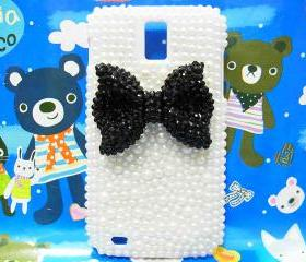 Bling Pearl Black Bow T989 Hercules Galaxy S2 SII T-Mobile case, Samsung T989 Hercules Galaxy S2 SII T-Mobile case, Crystal Black Bow Samsung T989 Hercules Galaxy S2 SII T-Mobile case A1