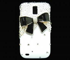 Bling Pearl Black Bow T989 Hercules Galaxy S2 SII T-Mobile case, Samsung T989 Hercules Galaxy S2 SII T-Mobile case, Crystal Black Bow White Samsung T989 Hercules Galaxy S2 SII T-Mobile case