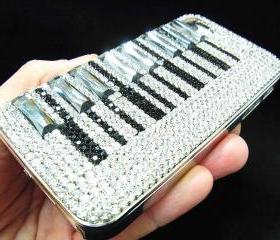 iphone 4 case, iphone 4G case, iphone 4S Case, Bling Crystal Piano Pattern Black Silver iphone 4 case,Crystal Metal iphone 4S Case Cover