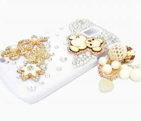 Bling Crystal Gold Flower Samsung T989 Hercules Galaxy S2 SII T-Mobile Case Cover Charm Lovely Bear, Samsung Galaxy S2 T989 Clear Case T-Mobile, Samsung T989 Hercules Galaxy S2 SII T-Mobile Case A1