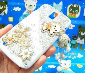 Bling Crystal Gold Flower Charm Lovely Bear Samsung T989 Hercules Galaxy S2 SII T-Mobile Case Cover , Samsung Galaxy S2 T989 Clear Case T-Mobile, Samsung T989 Hercules Galaxy S2 SII T-Mobile Case A2