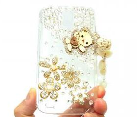 Crystal Flower Charm Lovely Bear Samsung T989 Hercules Galaxy S2 SII T-Mobile Case Cover, Samsung Galaxy S2 T989 Clear Case T-Mobile A2