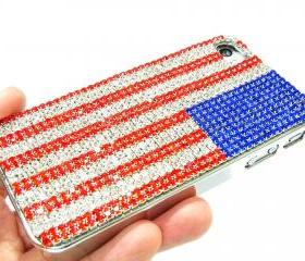 Bling Crystal US Flag Metal iphone 4 Case, iphone 4S Metal US Flag Case, Handmde Crystal US Flag iphone 4G Case Cover, unique iphone 4 case
