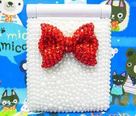 8-LED Bling Pearl Crystal Handmade Red Bow Light Cosmetic Make Up Compact Portable Folding Fold Mirror White