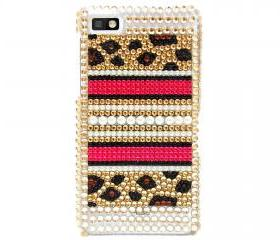 Bling leopard Gold Pearl blackberry Z10 Case, Blackberry Z10 Case Cover, Crystal Blackberry Z10 Case, Unique Blackberry Z10 Case LPG