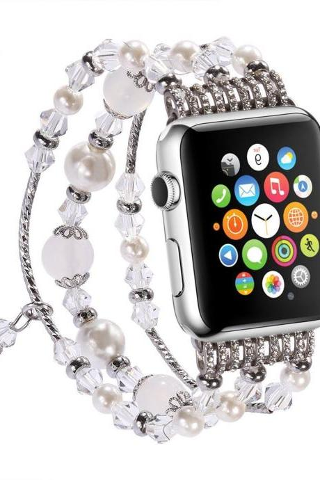 Pearl Beads Bracelet Watch White Band Strap for Apple Watch iWatch Series 1 2 42/38mm