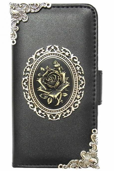 Rose iPhone X XR XS Max Wallet case,iphone X XS leather case, Rose iphone X XR XS Max Flip Leather Case,Vintage Rose iPhone X XR XS Max leather wallet case cover pouch Black