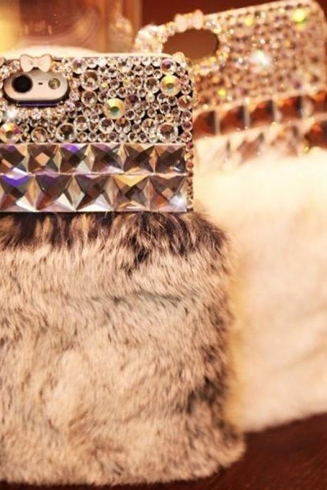 Luxury Bling Crystal Fur Furry iPhone 5 5G 5S Skin Case Cover, Fur Furry iphone 6 6S 4.7 case, Luxury Bling Crystal Furry iphone 6 6S case cover, Fur Furry Bling Crystal iPhone 6 6S Plus Case Cover