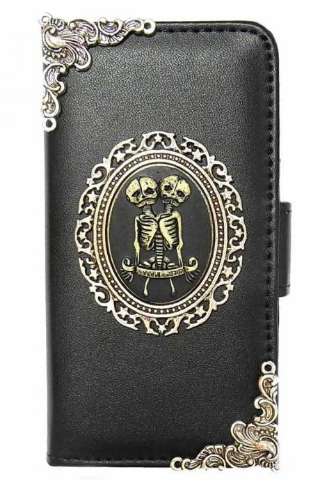 Twin Skull Vintage iPhone 5 5s Wallet case,iphone 5s SE leather case, Vintage iphone 5 5s SE Flip Case,Victorian Twin Skull iPhone 5 5G 5s SE leather wallet case cover Black