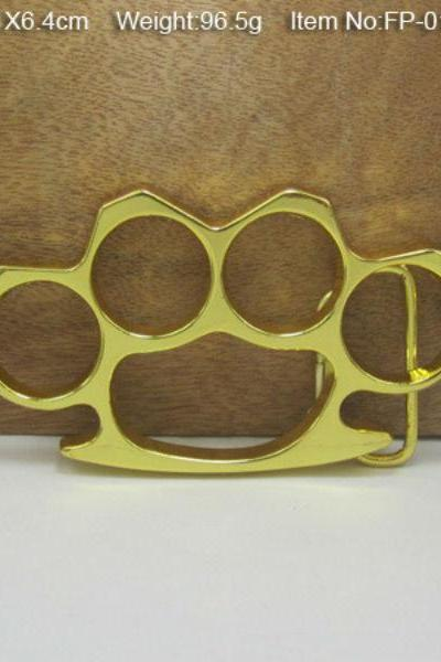 Vintage Thick Hard Steel Metal Knuckle Dusters Belt Buckle Gold