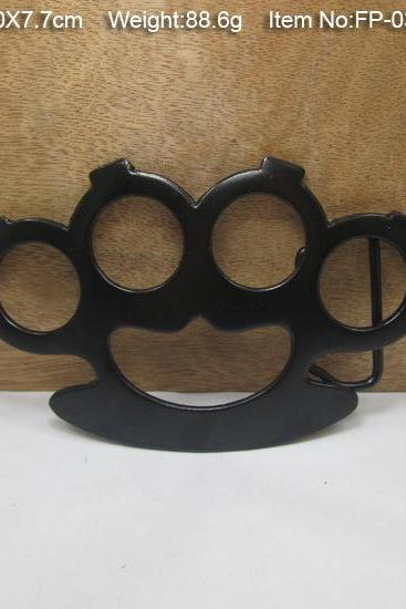 Vintage Thick Hard Steel Metal Knuckle Dusters Belt Buckle Black