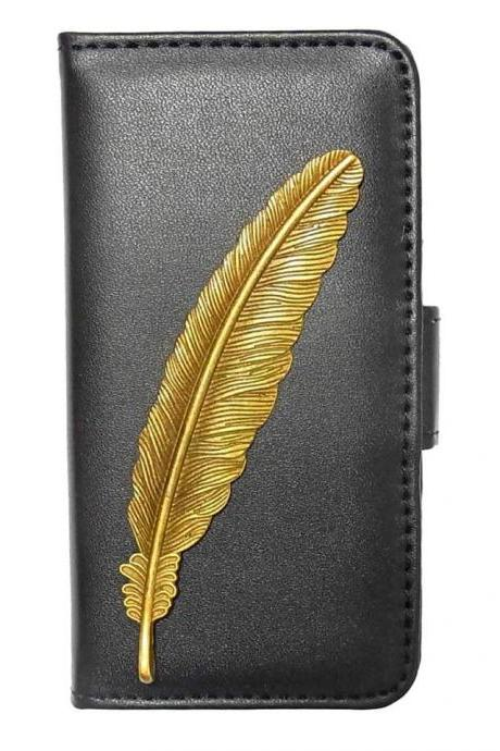 Feather iPhone 7 Wallet case,iphone 7 4.7 leather case, Feather iphone 7 Plus Flip Case,Vintage Feather iPhone 7 PLUS leather wallet case cover pouch Black