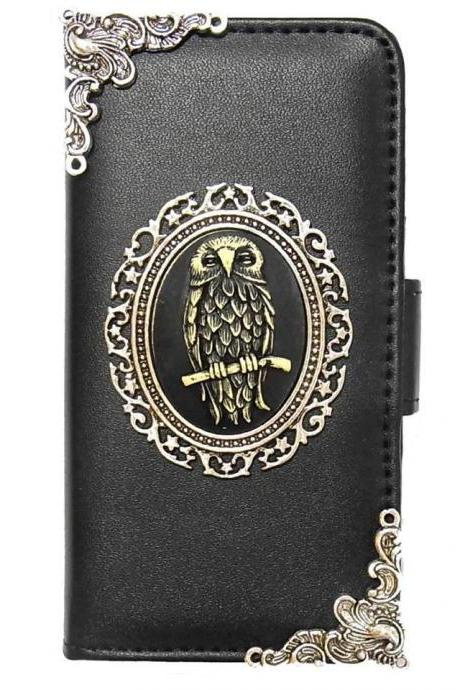 Owl iPhone 7 Wallet case,iphone 7 4.7 leather case, Owl iphone 7 Plus Flip Case,Vintage Owl iPhone 7 PLUS leather wallet case cover pouch Black