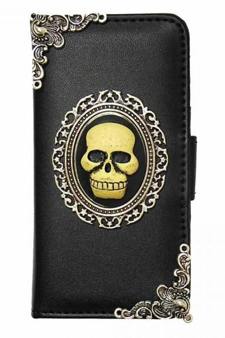 Skull iPhone 7 Wallet case,iphone 7 4.7 leather case, Skull iphone 7 Plus Flip Case,Vintage Skull iPhone 7 PLUS leather wallet case cover pouch A2 Black