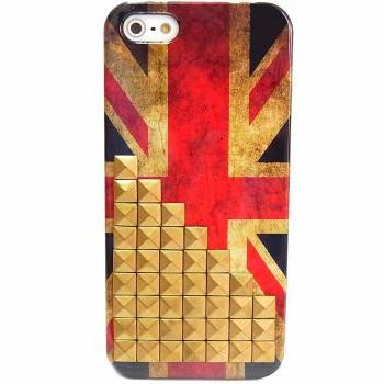 iphone 5 Case,iphone 5G Case,Iphone 5 case Cover,unique iphone 5 case,Vintage Style UK British Flag Iphone 5 case with Bronze Pyramid studs