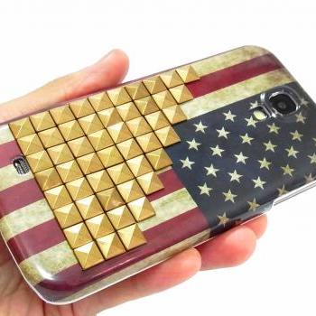 Samsung i9500 i9505 Galaxy S4 LTE Case,unique Samsung i9500 i9505 Galaxy S4 LTE Case,Vintage Style US American Flag with Bronze Metal Pyramid Stud