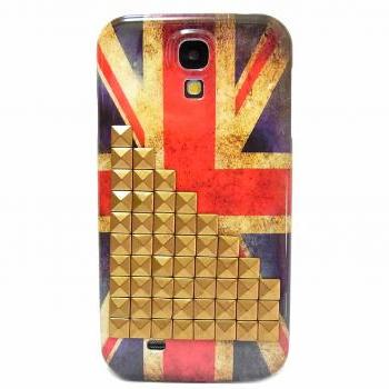 Samsung i9500 i9505 Galaxy S4 LTE Case,unique Samsung i9500 Galaxy S4 LTE Case,Vintage Style UK British Flag with Bronze Metal Pyramid Stud