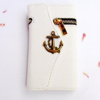 Anchor Samsung Galaxy S4 case, Samsung i9500 Galaxy S4 wallet, Samsung Galaxy S4 leather, Nautical phone case zipper wallet, Samsung i9500 Galaxy S4 case cover Handmade