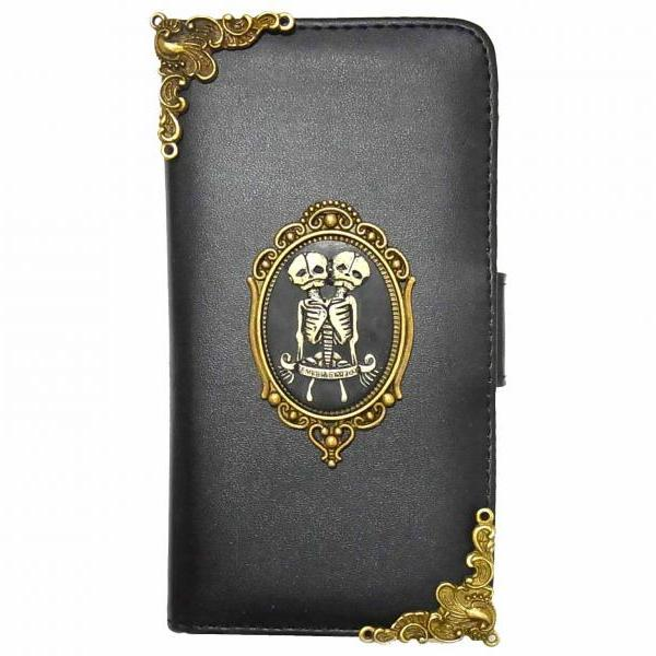 Twin Skull iPhone 6 6s Wallet case,Vintage iphone 6 6s 4.7 leather case,iphone 6 Flip Case,Victorian Vintage Twin Skull iPhone 6 6s PLUS leather wallet case cover BR1 Black