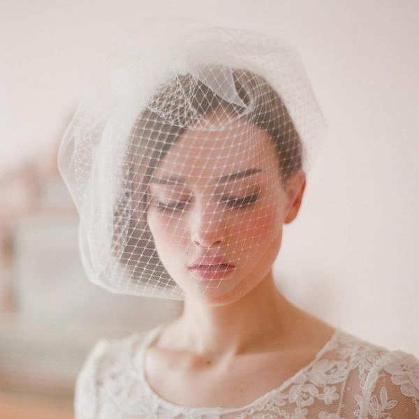 Wedding Bridal Ivory White Netting Net Birdcage Hair Accessories Veil Tiara A7